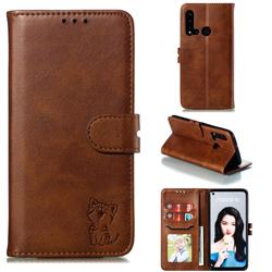 Embossing Happy Cat Leather Wallet Case for Huawei nova 5i - Brown