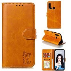Embossing Happy Cat Leather Wallet Case for Huawei nova 5i - Yellow