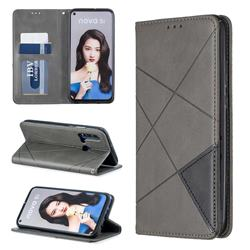Prismatic Slim Magnetic Sucking Stitching Wallet Flip Cover for Huawei nova 5i - Gray