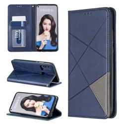 Prismatic Slim Magnetic Sucking Stitching Wallet Flip Cover for Huawei nova 5i - Blue