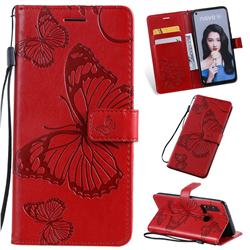 Embossing 3D Butterfly Leather Wallet Case for Huawei nova 5i - Red