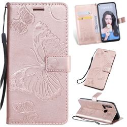 Embossing 3D Butterfly Leather Wallet Case for Huawei nova 5i - Rose Gold