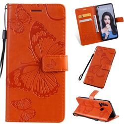 Embossing 3D Butterfly Leather Wallet Case for Huawei nova 5i - Orange