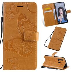 Embossing 3D Butterfly Leather Wallet Case for Huawei nova 5i - Yellow