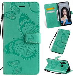 Embossing 3D Butterfly Leather Wallet Case for Huawei nova 5i - Green
