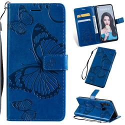 Embossing 3D Butterfly Leather Wallet Case for Huawei nova 5i - Blue