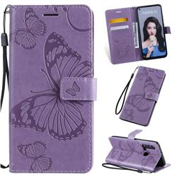 Embossing 3D Butterfly Leather Wallet Case for Huawei nova 5i - Purple