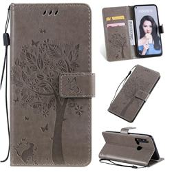 Embossing Butterfly Tree Leather Wallet Case for Huawei nova 5i - Grey