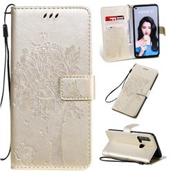 Embossing Butterfly Tree Leather Wallet Case for Huawei nova 5i - Champagne