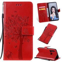 Embossing Butterfly Tree Leather Wallet Case for Huawei nova 5i - Red
