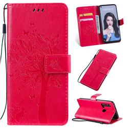 Embossing Butterfly Tree Leather Wallet Case for Huawei nova 5i - Rose