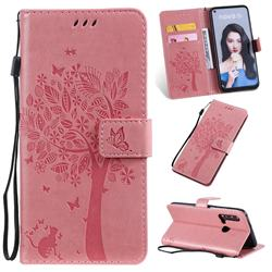 Embossing Butterfly Tree Leather Wallet Case for Huawei nova 5i - Pink