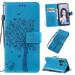 Embossing Butterfly Tree Leather Wallet Case for Huawei nova 5i - Blue