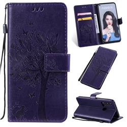 Embossing Butterfly Tree Leather Wallet Case for Huawei nova 5i - Purple