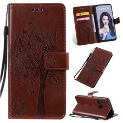 Embossing Butterfly Tree Leather Wallet Case for Huawei nova 5i - Coffee
