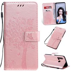 Embossing Butterfly Tree Leather Wallet Case for Huawei nova 5i - Rose Pink