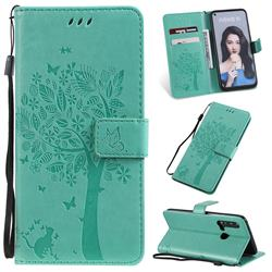 Embossing Butterfly Tree Leather Wallet Case for Huawei nova 5i - Cyan