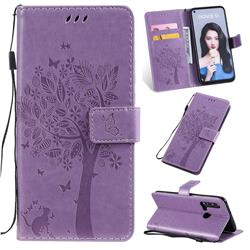 Embossing Butterfly Tree Leather Wallet Case for Huawei nova 5i - Violet