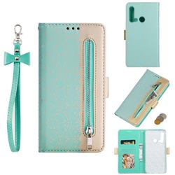 Luxury Lace Zipper Stitching Leather Phone Wallet Case for Huawei nova 5i - Green