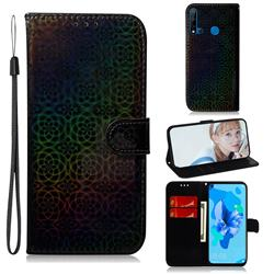 Laser Circle Shining Leather Wallet Phone Case for Huawei nova 5i - Black