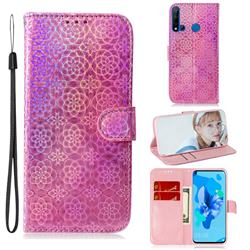 Laser Circle Shining Leather Wallet Phone Case for Huawei nova 5i - Pink
