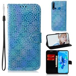 Laser Circle Shining Leather Wallet Phone Case for Huawei nova 5i - Blue