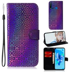 Laser Circle Shining Leather Wallet Phone Case for Huawei nova 5i - Purple