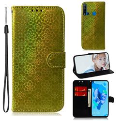 Laser Circle Shining Leather Wallet Phone Case for Huawei nova 5i - Golden