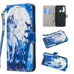 Ice Wolf 3D Painted Leather Wallet Phone Case for Huawei nova 5i