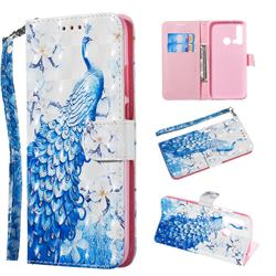 Blue Peacock 3D Painted Leather Wallet Phone Case for Huawei nova 5i