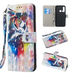 Watercolor Owl 3D Painted Leather Wallet Phone Case for Huawei nova 5i