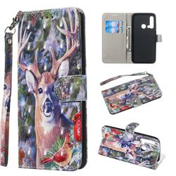 Elk Deer 3D Painted Leather Wallet Phone Case for Huawei nova 5i