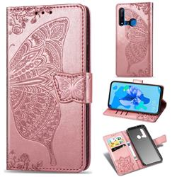 Embossing Mandala Flower Butterfly Leather Wallet Case for Huawei nova 5i - Rose Gold