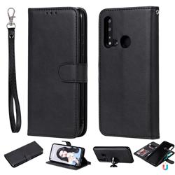 Retro Greek Detachable Magnetic PU Leather Wallet Phone Case for Huawei nova 5i - Black