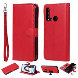 Retro Greek Detachable Magnetic PU Leather Wallet Phone Case for Huawei nova 5i - Red