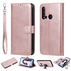 Retro Greek Detachable Magnetic PU Leather Wallet Phone Case for Huawei nova 5i - Rose Gold