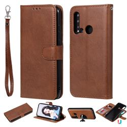 Retro Greek Detachable Magnetic PU Leather Wallet Phone Case for Huawei nova 5i - Brown
