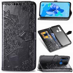 Embossing Imprint Mandala Flower Leather Wallet Case for Huawei nova 5i - Black