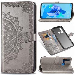 Embossing Imprint Mandala Flower Leather Wallet Case for Huawei nova 5i - Gray