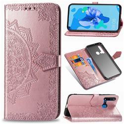 Embossing Imprint Mandala Flower Leather Wallet Case for Huawei nova 5i - Rose Gold