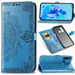 Embossing Imprint Mandala Flower Leather Wallet Case for Huawei nova 5i - Blue