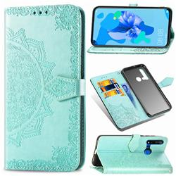 Embossing Imprint Mandala Flower Leather Wallet Case for Huawei nova 5i - Green