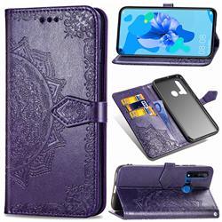 Embossing Imprint Mandala Flower Leather Wallet Case for Huawei nova 5i - Purple