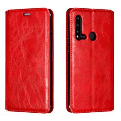 Retro Slim Magnetic Crazy Horse PU Leather Wallet Case for Huawei nova 5i - Red