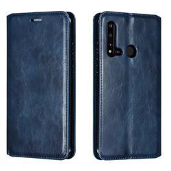 Retro Slim Magnetic Crazy Horse PU Leather Wallet Case for Huawei nova 5i - Blue