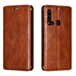 Retro Slim Magnetic Crazy Horse PU Leather Wallet Case for Huawei nova 5i - Brown