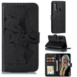 Intricate Embossing Lychee Feather Bird Leather Wallet Case for Huawei nova 5i - Black