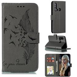 Intricate Embossing Lychee Feather Bird Leather Wallet Case for Huawei nova 5i - Gray