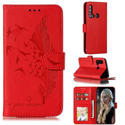 Intricate Embossing Lychee Feather Bird Leather Wallet Case for Huawei nova 5i - Red
