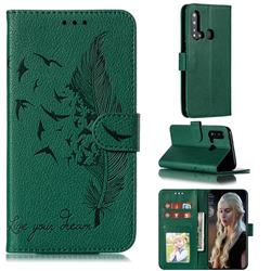 Intricate Embossing Lychee Feather Bird Leather Wallet Case for Huawei nova 5i - Green
